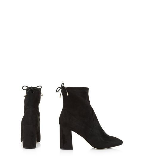 Black Suedette Tie Up Sock Boots