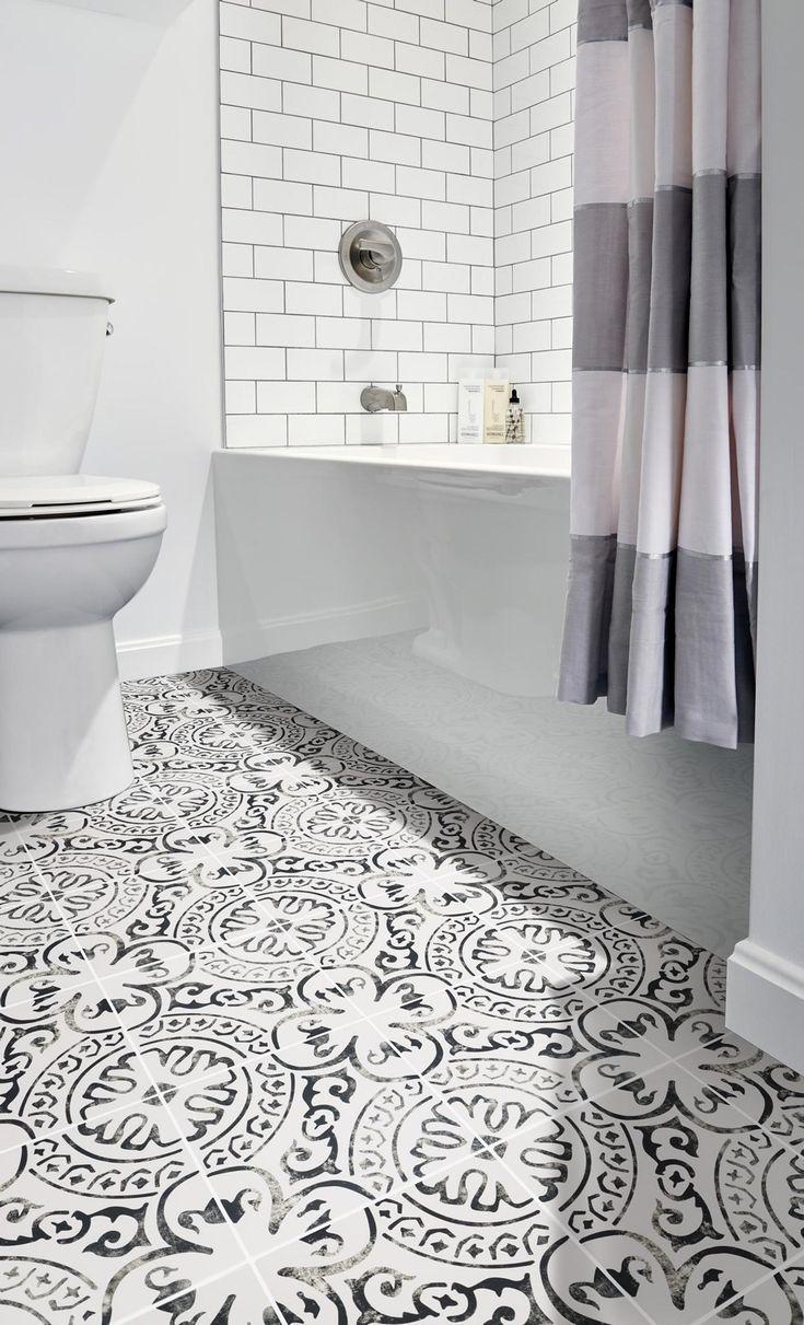 Peel And Stick Floor Tile Bathroom In 2020 Vinyl Tile Vinyl Flooring Stair Riser Decals
