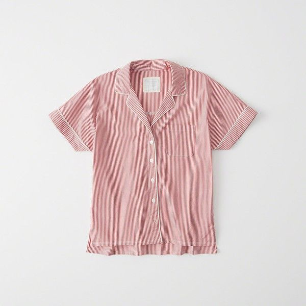 Abercrombie & Fitch Pajama Shirt ($38) ❤ liked on Polyvore featuring intimates, sleepwear, pajamas, red stripe, red pjs, striped pyjamas, striped pajamas, button down pajamas and button up pjs