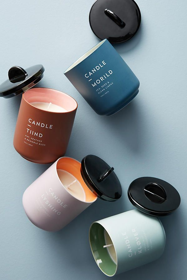Candle packaging / muted tones / minimal typography