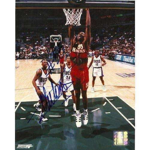 Dikembe Mutombo, Atlanta Hawks, Georgetown Hoyas, Signed, Autographed, 8x10 Photo, Coa, Rare Hard to Find Photo