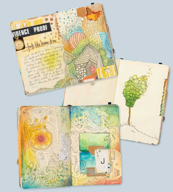 Doodling + Collage = Fun Art Journal Pages