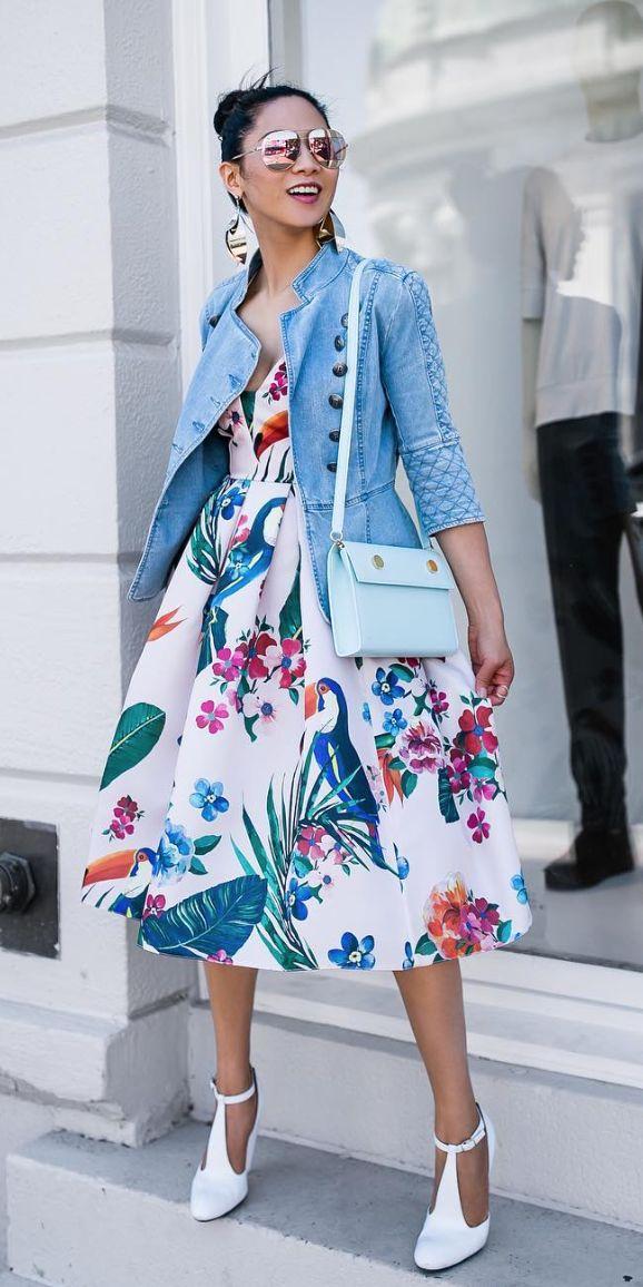 Love it all: bold print dress, mint-colored bag, T-strap-esque shoes, jacket.