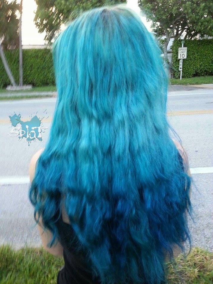 Splat Aqua Rush and Blue Envy ombre #beachwaves #bluehair