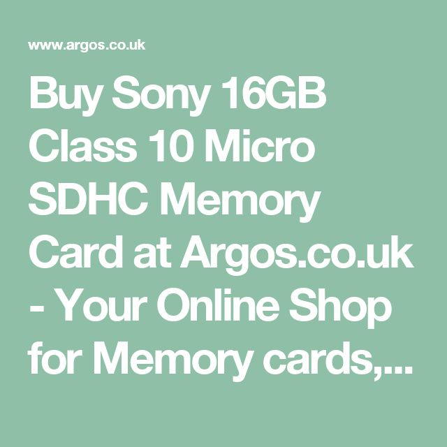Buy Sony 16GB Class 10 Micro SDHC Memory Card at Argos.co.uk - Your Online Shop for Memory cards, Memory cards and readers, Cameras and camcorders, Technology.