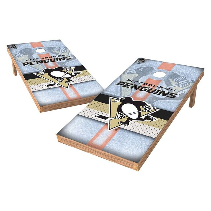NHL Wild Sports Shield Cornhole Bag Toss Set - 2x4 ft. - Pittsburgh Penguins