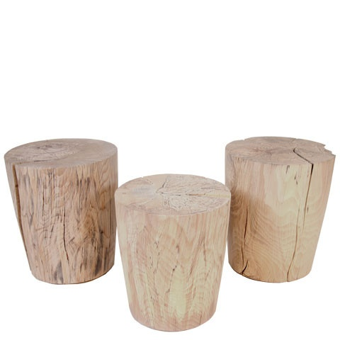 Beech Stools by Brent Comber.  Slightly tapered columns of dense solid beech wood.  Each piece has its own unique lines of black spalting.  Salvaged from a Beech tree in Ambleside, West Vancouver.  Serves as a small side table or stool.  Available at Kozai Modern  $1,300