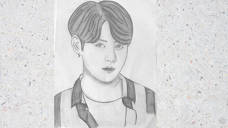 Jeon Jungkook BTS : Pencil Sketch Drawing of BTS Jeon ...