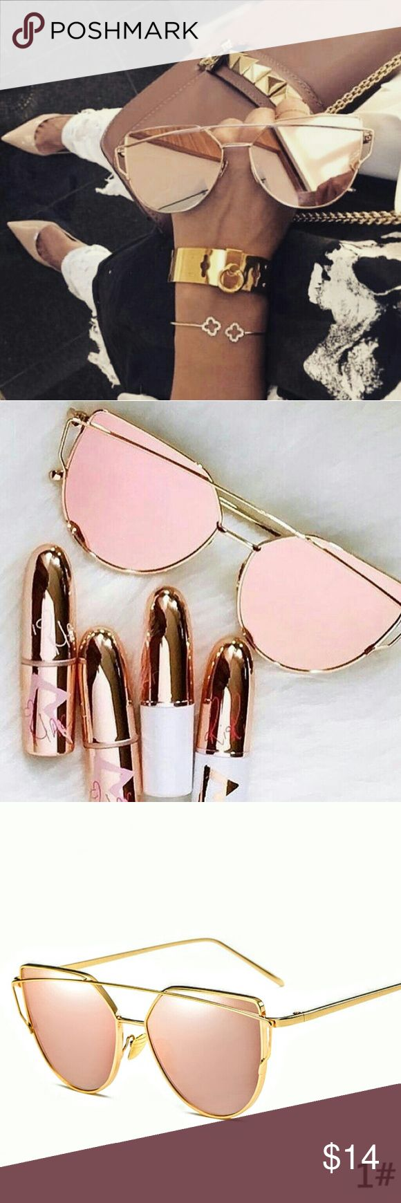 Rose gold luxury sunglasses with gold frame Fashion Women's Double Metal Nose Bridge Sunglasses Outdoor Driving Eyewear Accessories Glasses