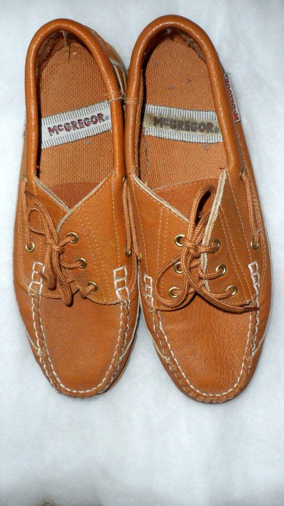VINTAGE MENS MacGregor LEATHER Loafers or Deck Shoes  by BYGONERA