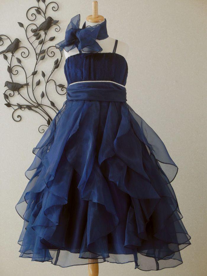 子供ドレス ピアノ発表会ドレス 5-321(150cm)ネイビーブルー