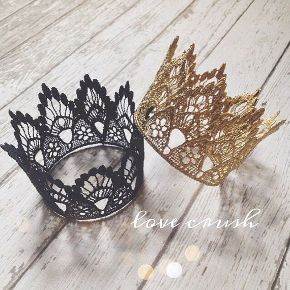the sienna...vintage black gold silver lace crown HEADBAND option photography prop (newborn-toddler) on Etsy, $14.00