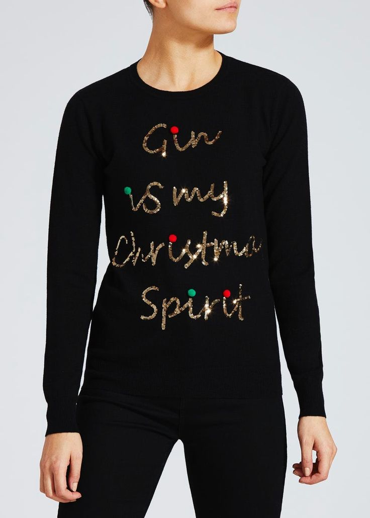 Raise a glass to the festive season and really get into the spirit of things with this novel Christmas jumper. Fashioned in a black knit design, this...