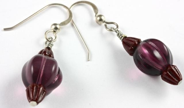 Vintage Bohemian Chocolate Tulip Glass Bead Earrings and Amethyst Melon Beads - E165