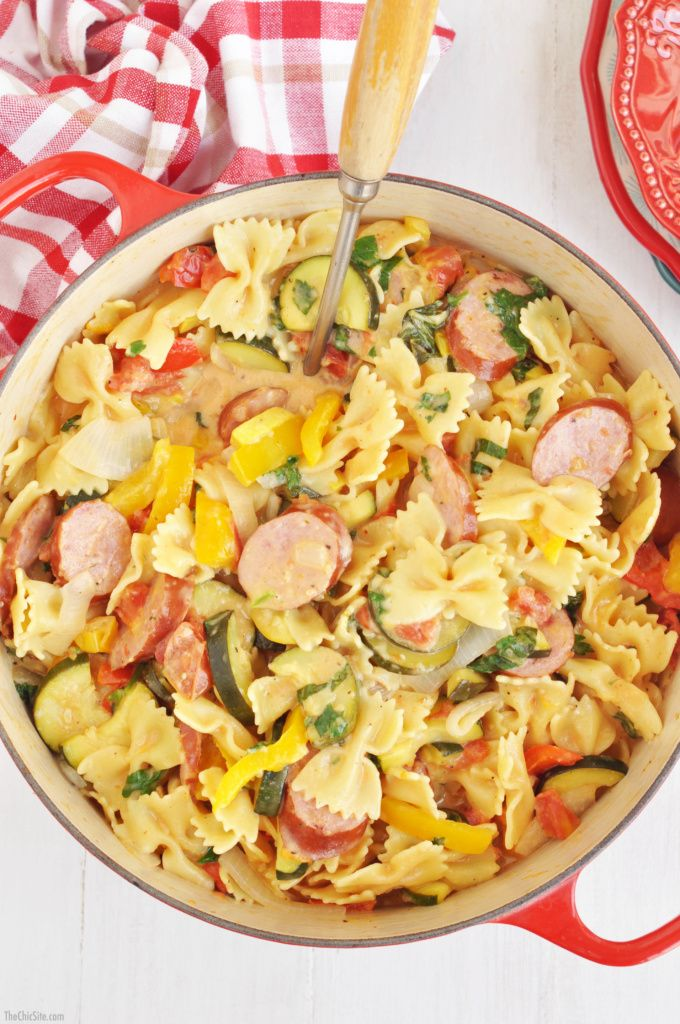 Save this easy one pot recipe to make Kielbasa Pasta for dinner during the week.
