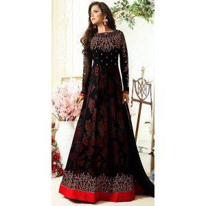 Remarkable Black Georgette Anarkali Suit.