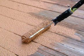 rust oleum deck restore d our deck, decks, diy, how to, Deck Restore is applied with a specialized honeycomb roller