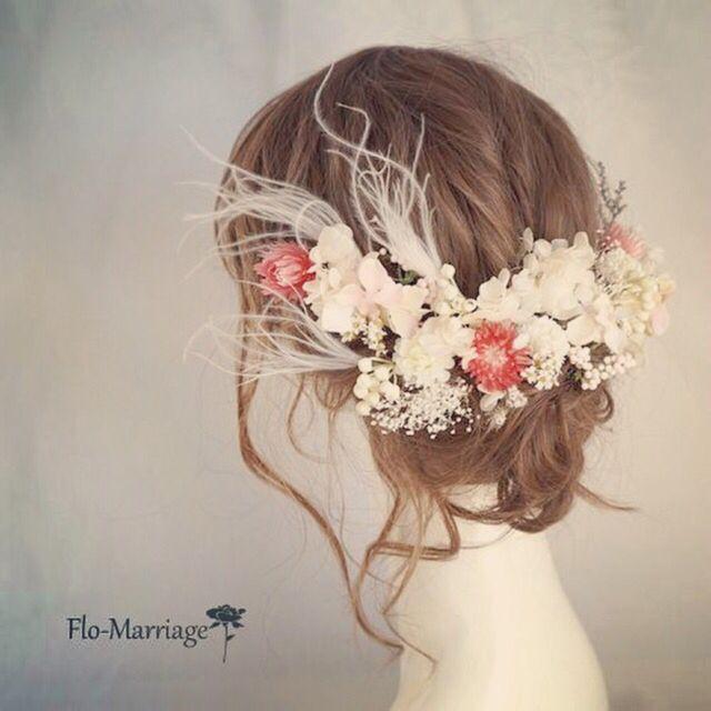 エレガント大人婚♡幻想的フェザーグラスのヘッドドレス | ハンドメイドマーケット minne
