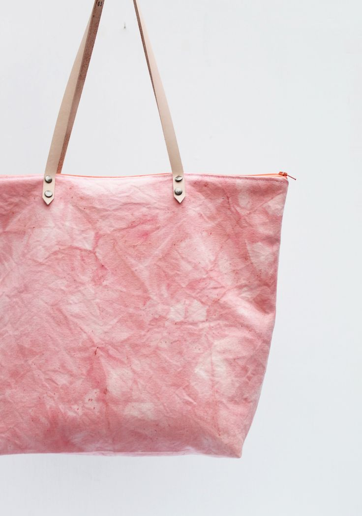 Organic cotton tote bag, hand dyed in madder root - by Twill & Print
