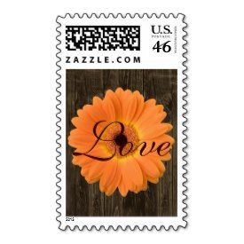 Orange Gerber Daisy Rustic Wood LOVE Postage Stamp | Rustic Country Wedding Invitations