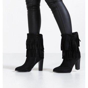 Zwarte suède laarzen met fringes