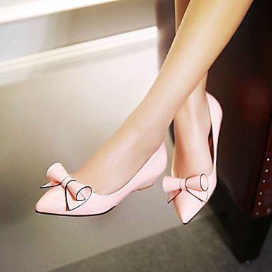 Zapatos de mujer - Tacón Bajo - Puntiagudos - Planos - Exterior / Oficina y Trabajo / Casual - Semicuero - Negro / Rosa / Rojo / Blanco 2016 - $24.99