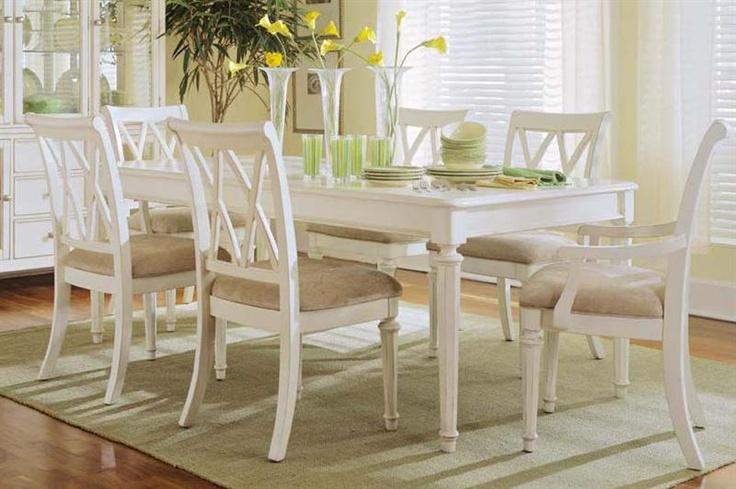 Antique white kitchen table set.