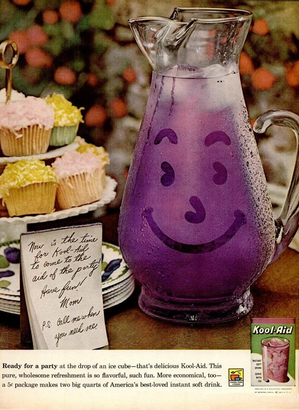rechercher:    The Kool Aid man was a lot more svelte back in the day…  dandyads:    Kool Aid, 1961