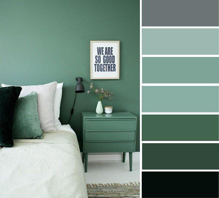 Grey And Green Bedroom In 2020 Green Bedroom Colors Bedroom