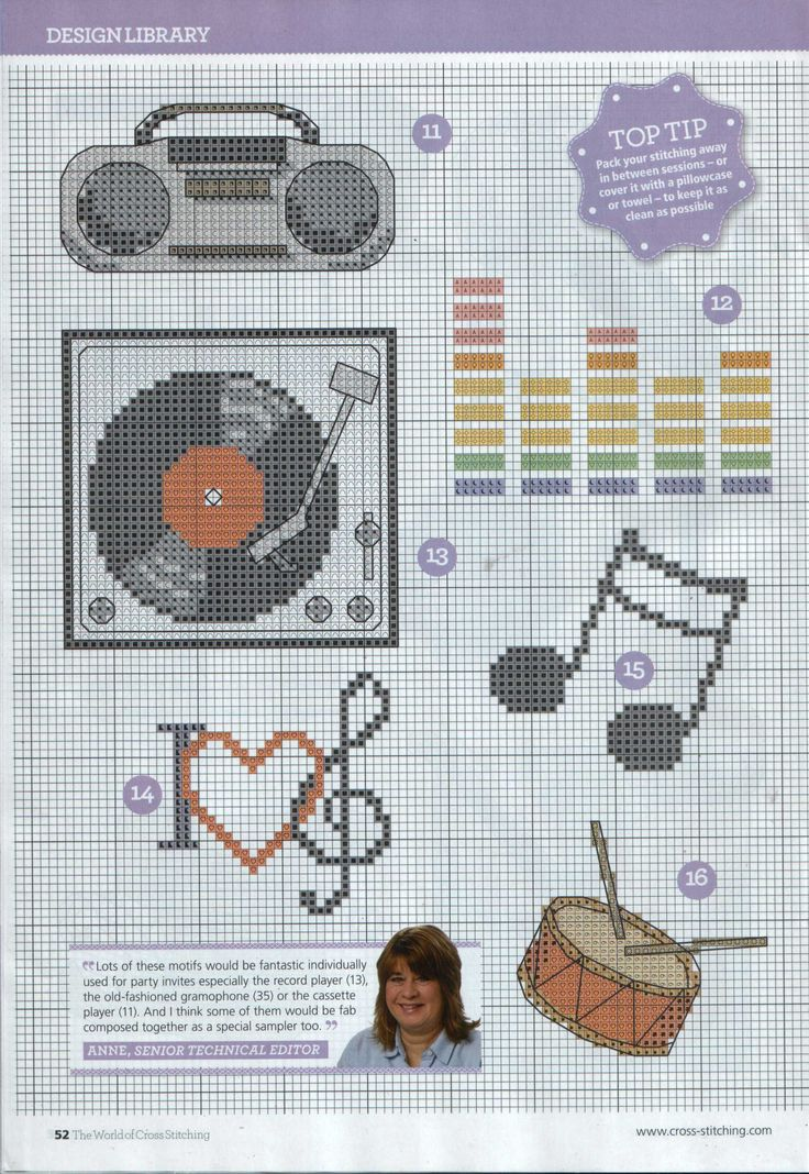 I made the vinyl record only;  Cross-stitch Musical Things, part 2..  color chart on part 1...    un poco de musica;
