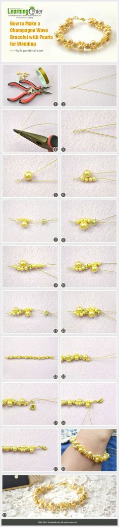 How to Make a Champagne Wave Bracelet with Pearls for Wedding