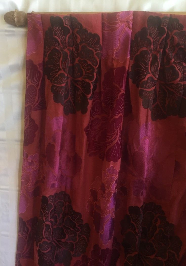 Unbelievable Quality. Wow these take the cake on every level. Two beautiful curtains. The fabric is by Osbourne and Little from their Lorca range. They cover a track of 348 cms and measure 290 cms long. This fabric does not photograph well.
