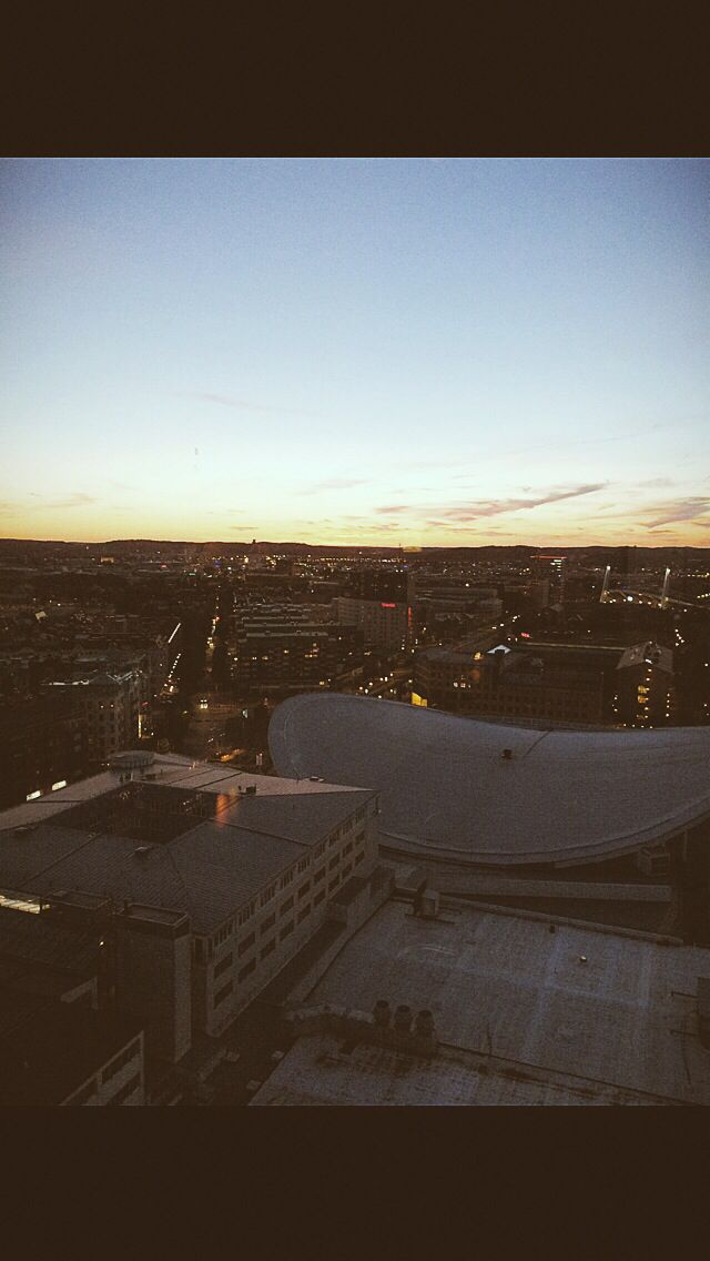 One night on the roof in gothenburg , Sweden. Nice city . Sunset