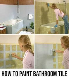 How To Paint Bathroom Tile the right way. Update the powder room by adding a new color to old tile. #bathroom #tile #painting