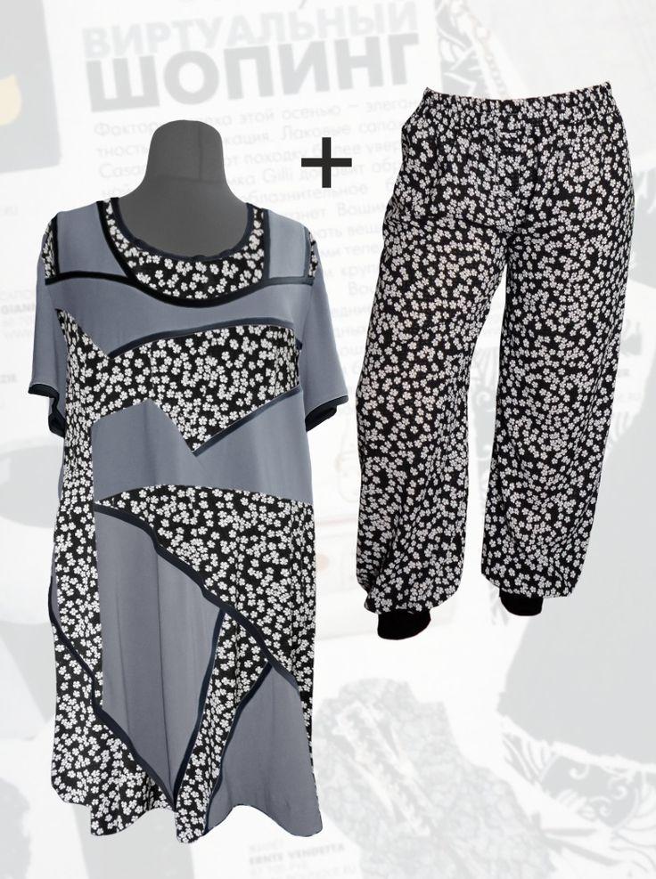 59$ Летний шифоновый брючный костюм для полных девушек: трикотажная туника с шифоновыми серыми  вставками в мелкий белый цветочек + шифоновые брюки-шаровары Артикул 696, р50-64