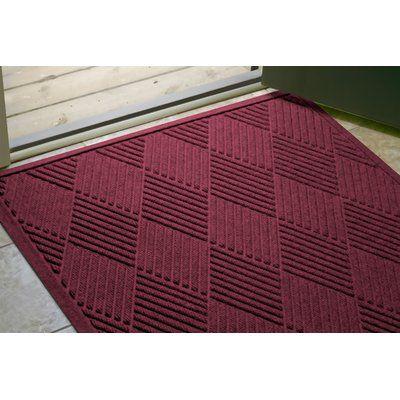 "Bungalow Flooring Aqua Shield Diamonds Doormat Rug Size: Half Oval 24"" x 39"", Color: Bordeaux"