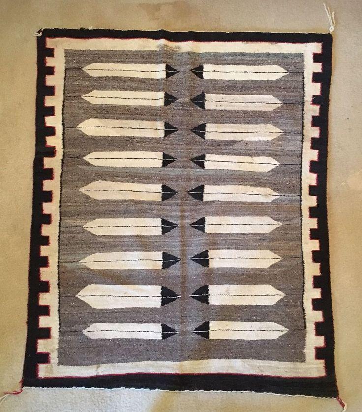 Antique Navajo Transitional Blanket Ganado Hubbell Weave Throw Rug 49X42