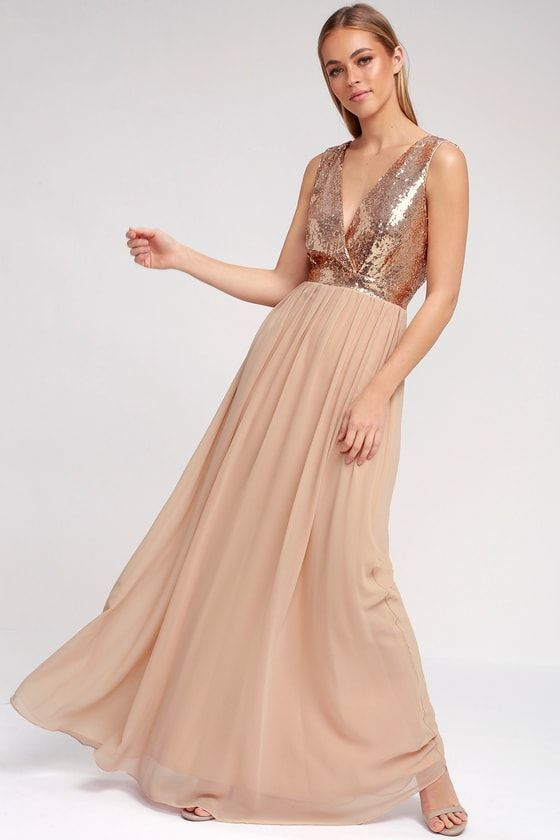 87f18d9a The Elegant Encounter Champagne Sequin Maxi Dress was made for fairy tale  endings! A sleeveless