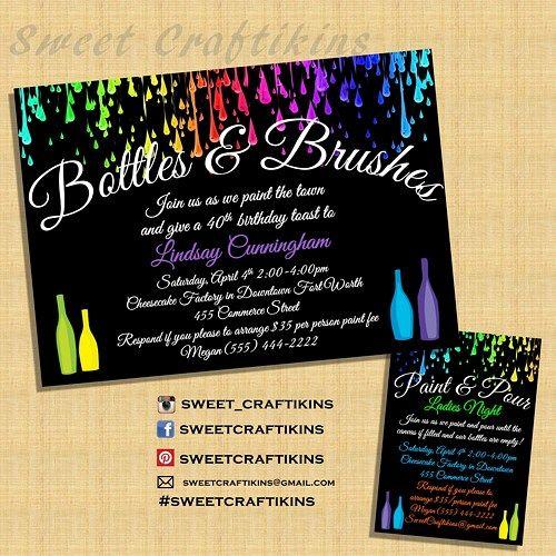 Painting Birthday Invite- Digital File - Wine and Paint ...