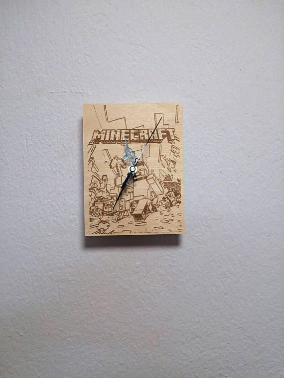 Check out this item in my Etsy shop https://www.etsy.com/listing/591304611/minecraft-wooden-wall-clock-gift-for