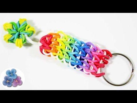 fácil   DIY Llavero de Gomitas Como hacer un llavero Rainbow Loom Regalos Pintura Facil - YouTube