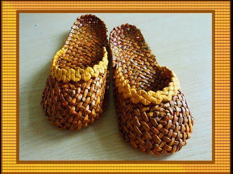 Лапти из газетных трубочек/Braided sandals - YouTube