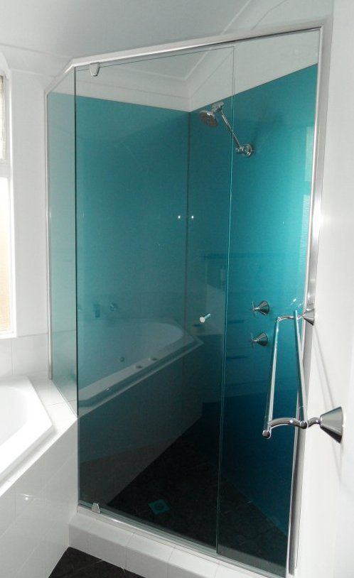 Great looking Shower Splashback in Acrylic, painted in Metallic Blue, installed by OzzieSplash