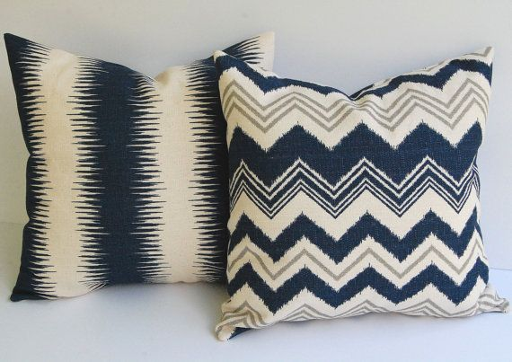 Navy and Natural pillow covers set of two 18 x 18 Zazzle zig zag chevron stripe in navy natural and gray grey. $38.00, via Etsy.