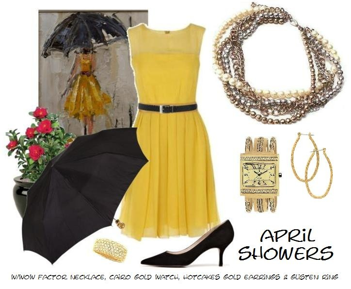 april showers bring may flowers =): Shower Bring, Flowers Repin, Yellow Gold, Factors Necklaces, Outfit, May Flowers, Hotcak Gold, April Showers, Gold Earrings