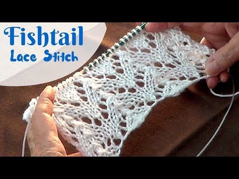 Fishtail Lace Stitch | Knitting Fishtail Lace Pattern - YouTube