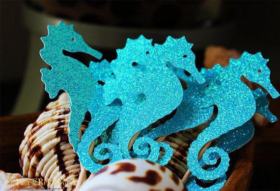 Hauts de forme hippocampe cupcake ! Parti de sirène, nautique, sous les décorations sur le thème de la mer !