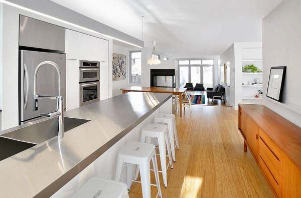 Sleek Stainless Steel Countertops for Galley Kitchen