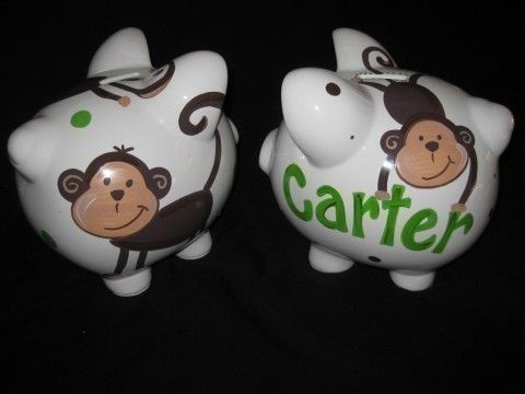 Hey, I found this really awesome Etsy listing at https://www.etsy.com/listing/44435656/personalized-piggy-bank-mod-pop-monkey