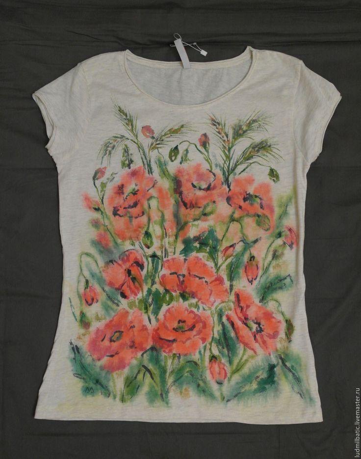 Купить Маки - цветочный, бежевый, футболка с рисунком, футболка на заказ, цветочный принт, маки, цветы